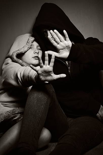 homeless mother with her daughter. poor family. - little girls giving head stock photos and pictures