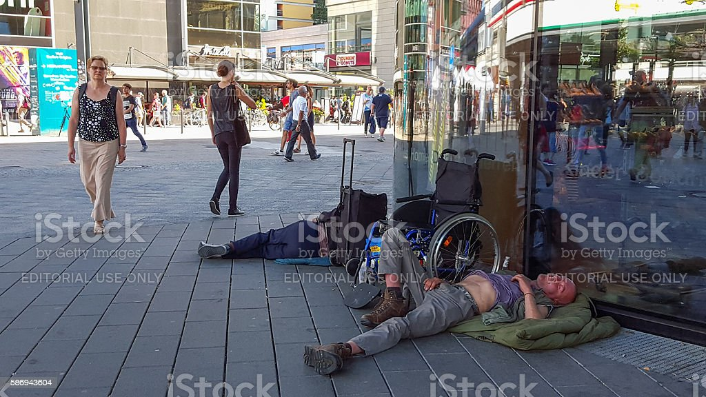 homeless people in the streets of berlin germany stock