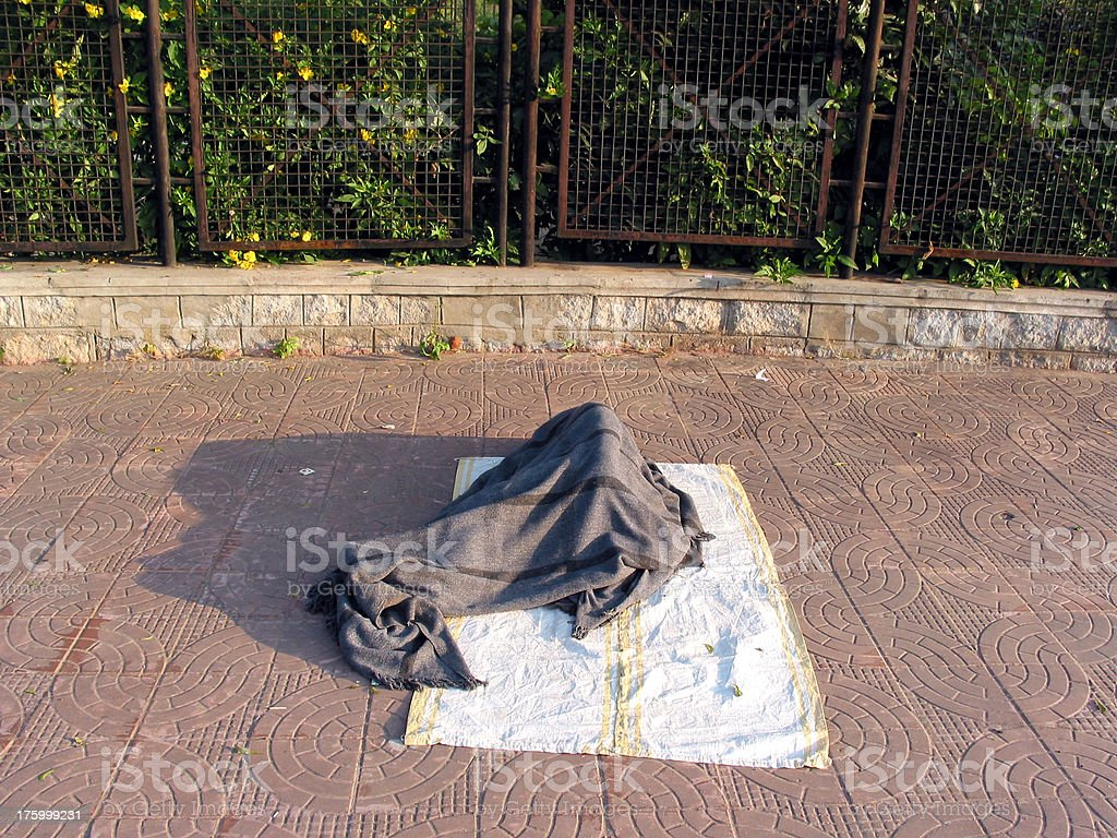 Homeless person in Hyderabad, India royalty-free stock photo