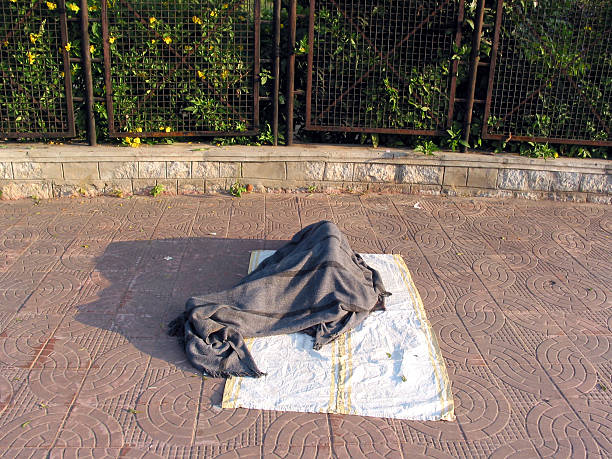 Homeless person in Hyderabad, India stock photo