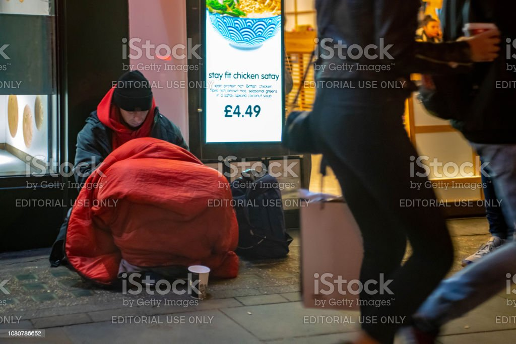 A homeless person on the streets of London stock photo