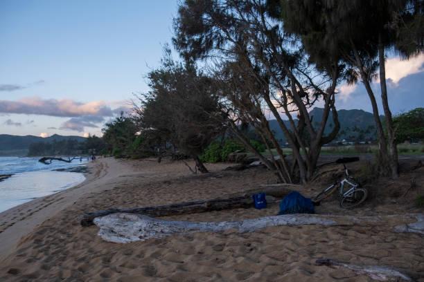 Homeless Person Sleeping on the Beach stock photo