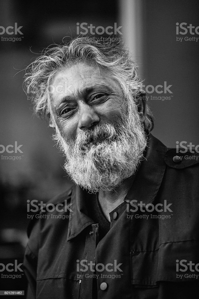 Homeless senior adult stock photo