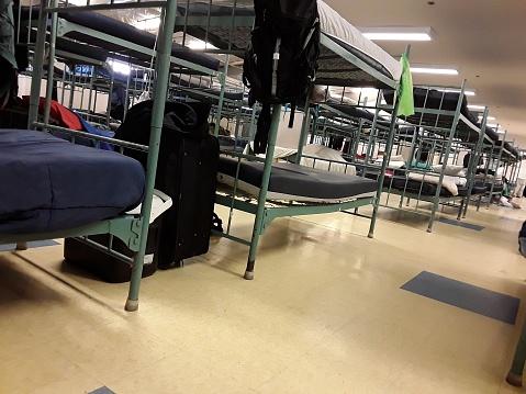 Bunks in a homeless shelter