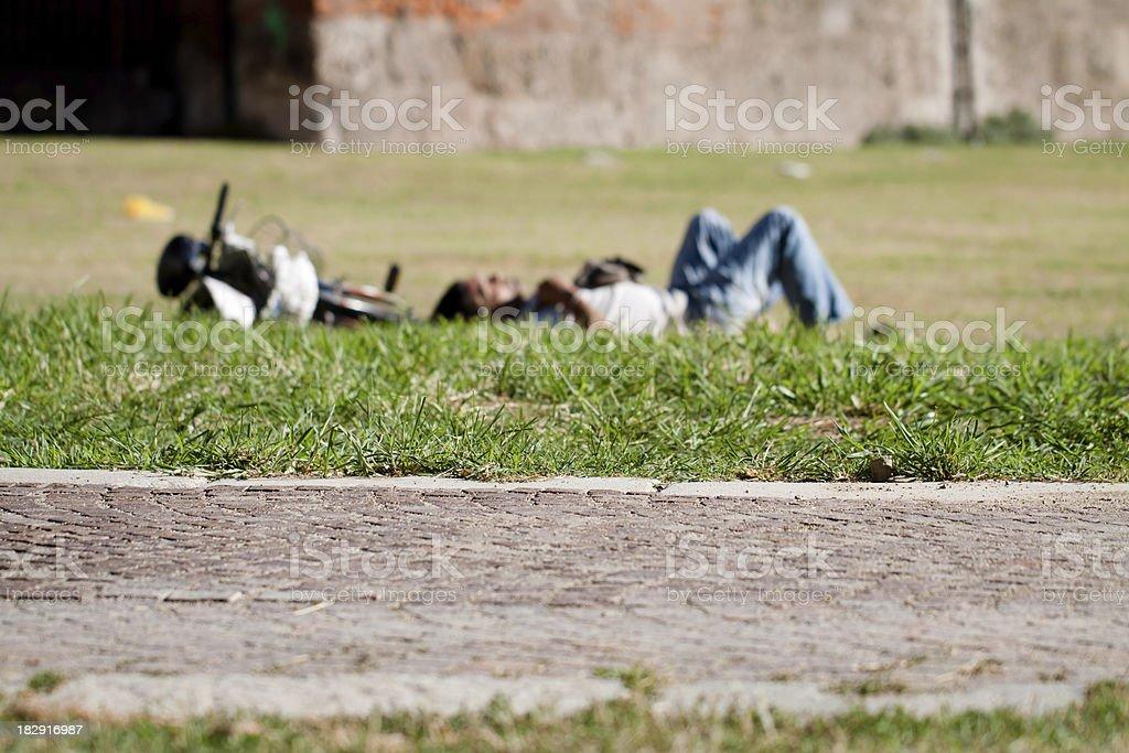 Homeless Sleeping in Milan, Italypse 2010 stock photo