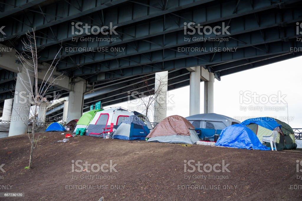 Homeless Tent Camp Portland Oregon stock photo