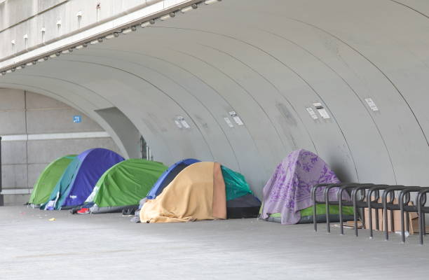 Homeless tent in downtown Paris France stock photo
