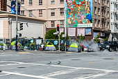 April 24, 2020 Homeless tents lining the streets at McAllister St and Larkin St. in the Civic Center area of San Francisco.
