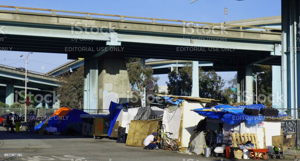 SF  Homeless tents stock photo