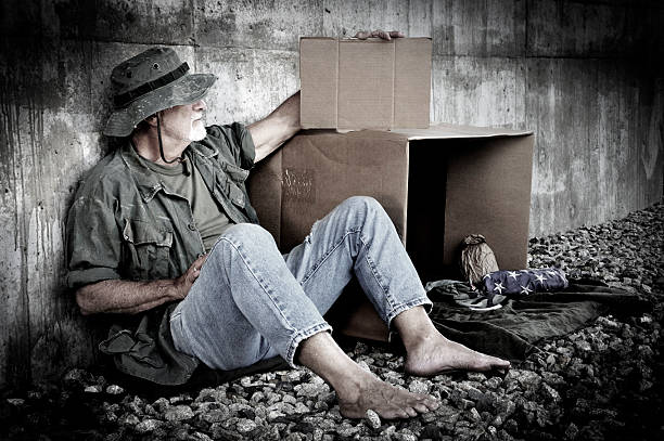 homeless veteran holds blank cardboard sign - mike cherim stock pictures, royalty-free photos & images