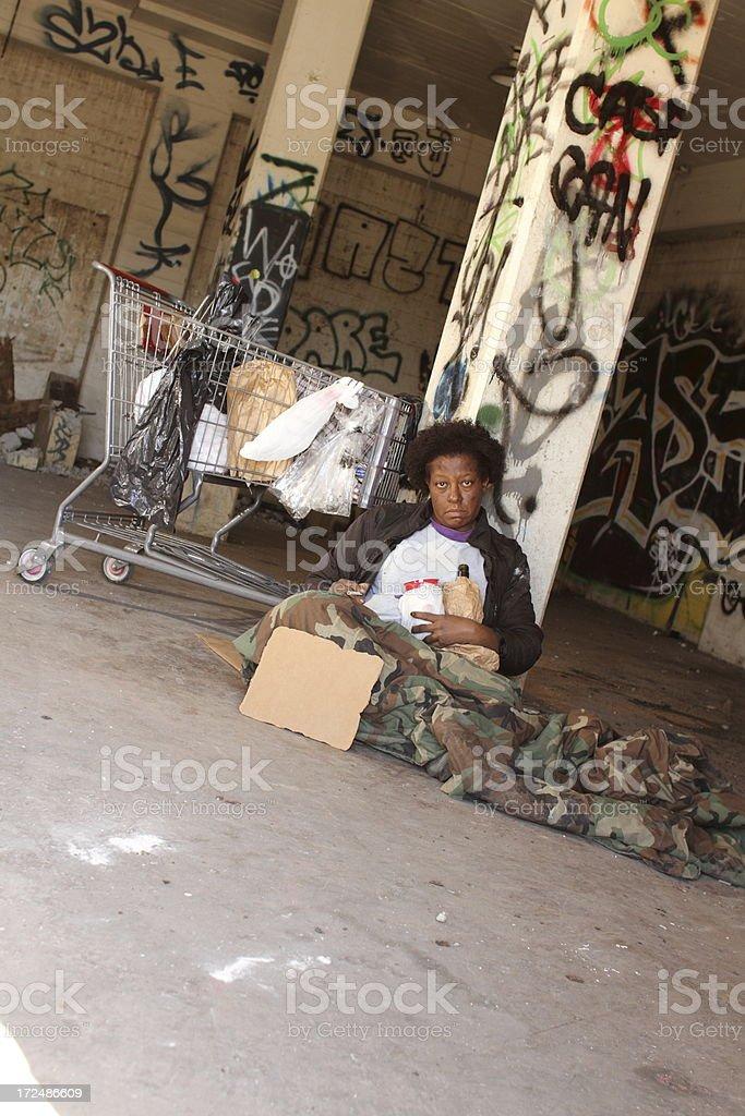 Homeless Woman Angle WS royalty-free stock photo