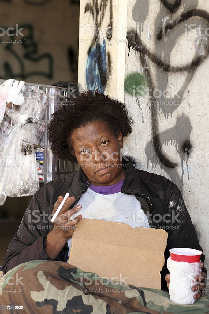 Homeless Woman Blank Sign Vertical royalty-free stock photo