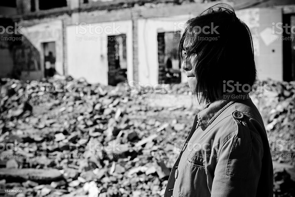 Homeless Woman Crying - XLarge royalty-free stock photo