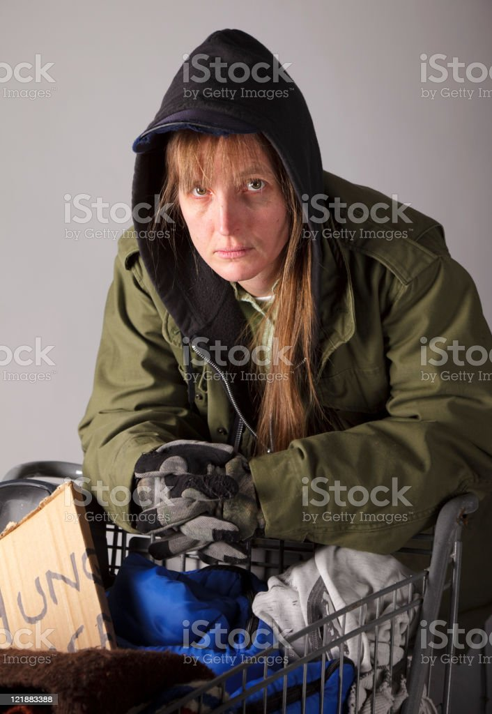 Homeless Woman with Shopping Cart royalty-free stock photo