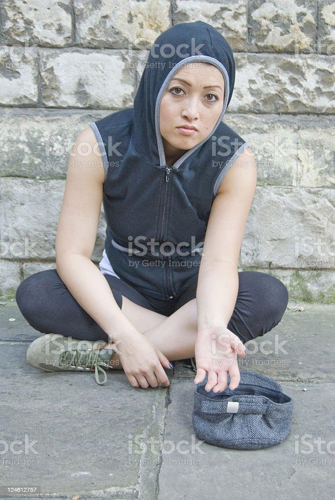 Homeless women begging for money stock photo