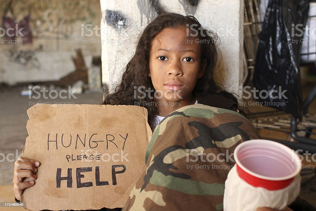 Homeless Young Girl Cup To Camera royalty-free stock photo