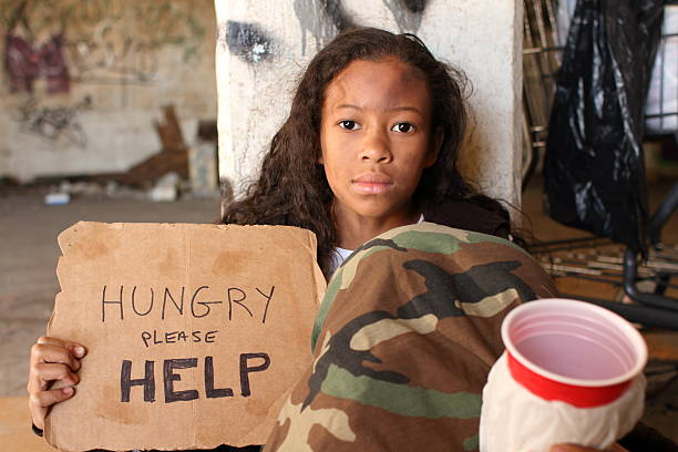 homeless young girl cup to camera - disinherit stock pictures, royalty-free photos & images