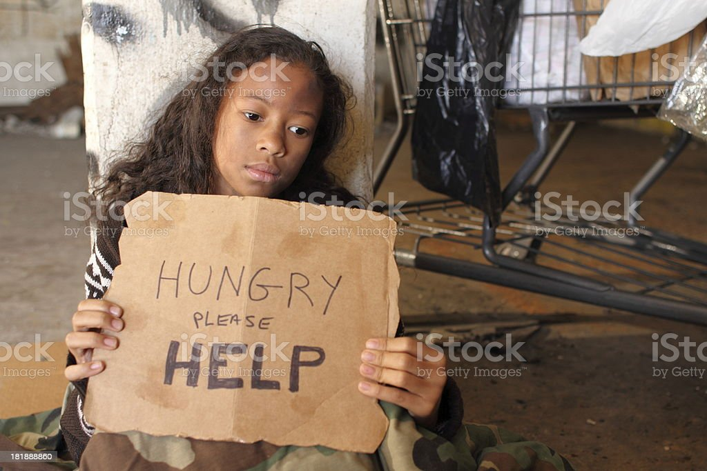 Homeless Young Girl With Sign Copy Space Right royalty-free stock photo