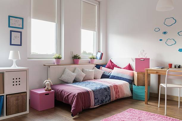 Homely modern room for teenager Interior of homely modern room for teenager girl bedroom stock pictures, royalty-free photos & images