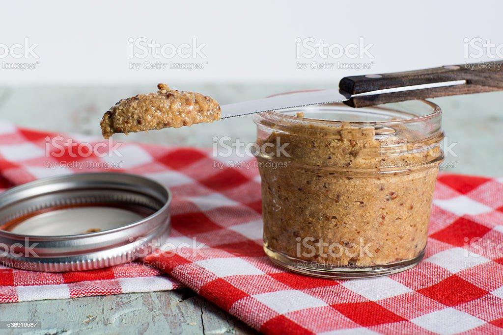 Homemad stoneground mustard stock photo