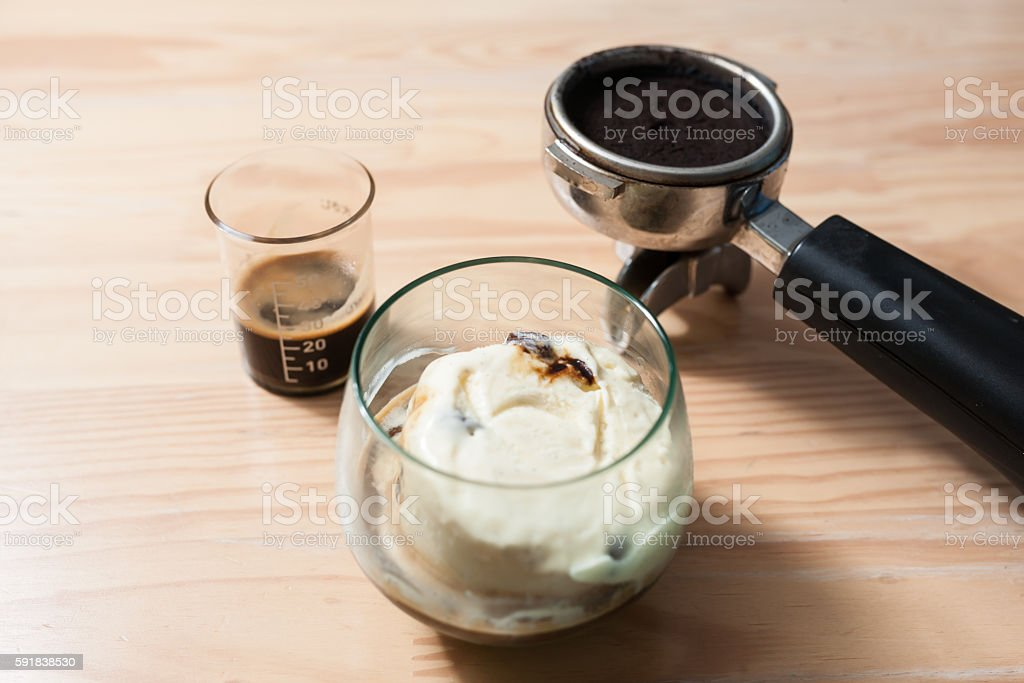 Homemade Affogato on wooden table. stock photo