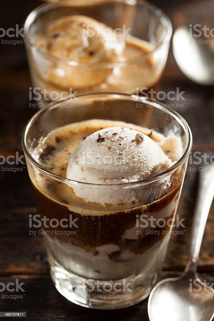 Homemade Affogato with Ice Cream stock photo