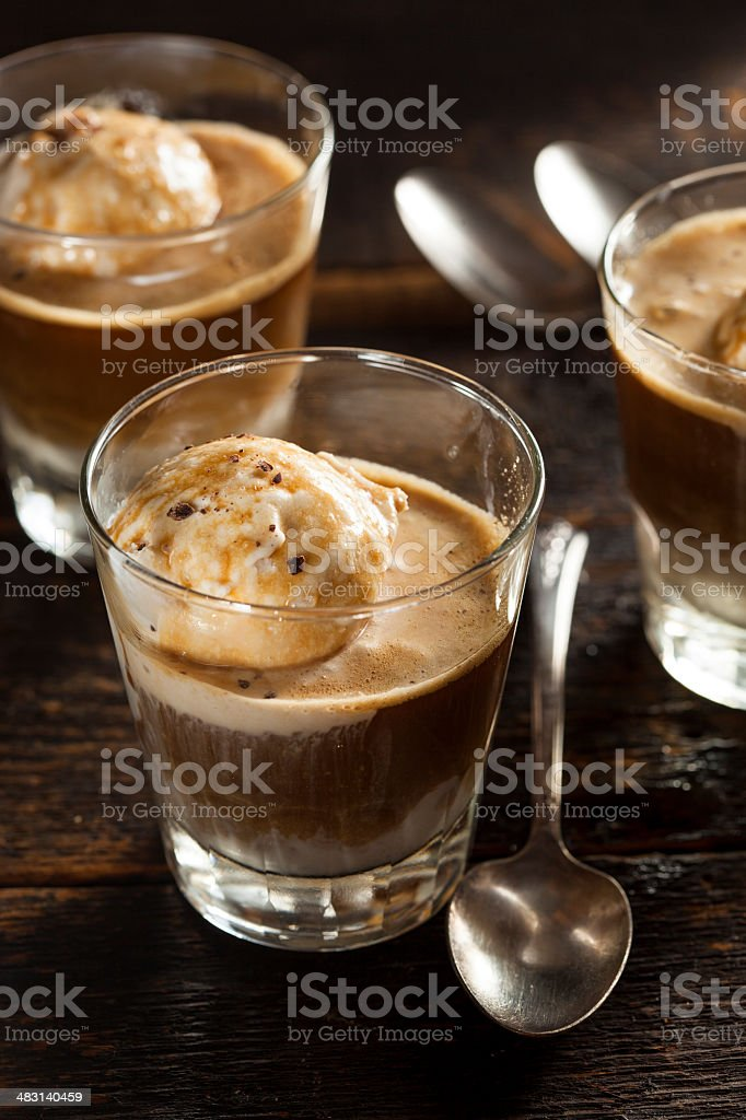 Homemade Affogato with Ice Cream stock photo