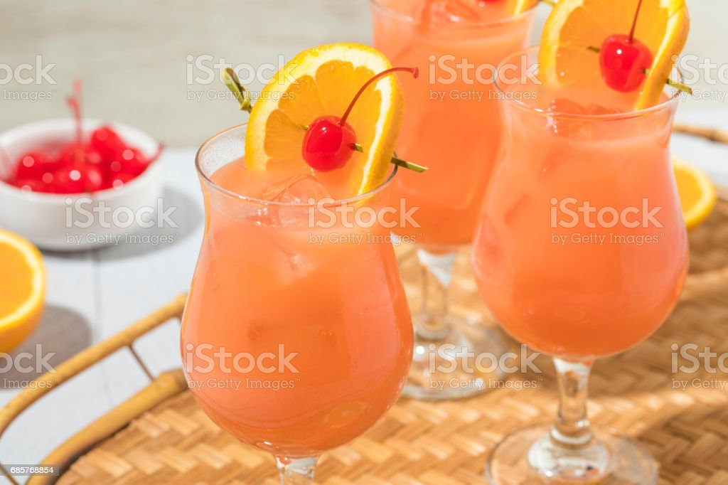 Homemade Alcoholic Hurricane Cocktail Drink stock photo