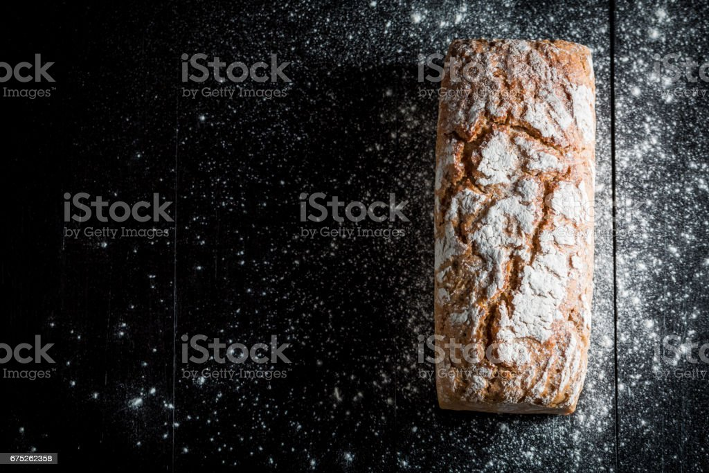 Homemade and fresh bread with several grains for breakfast stock photo