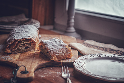 Homemade Apfelstrudel with Powdered Sugar
