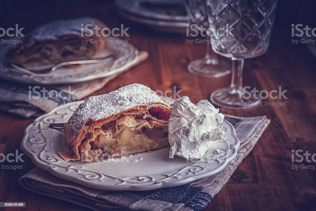 Homemade Apfelstrudel with Powdered Sugar stock photo