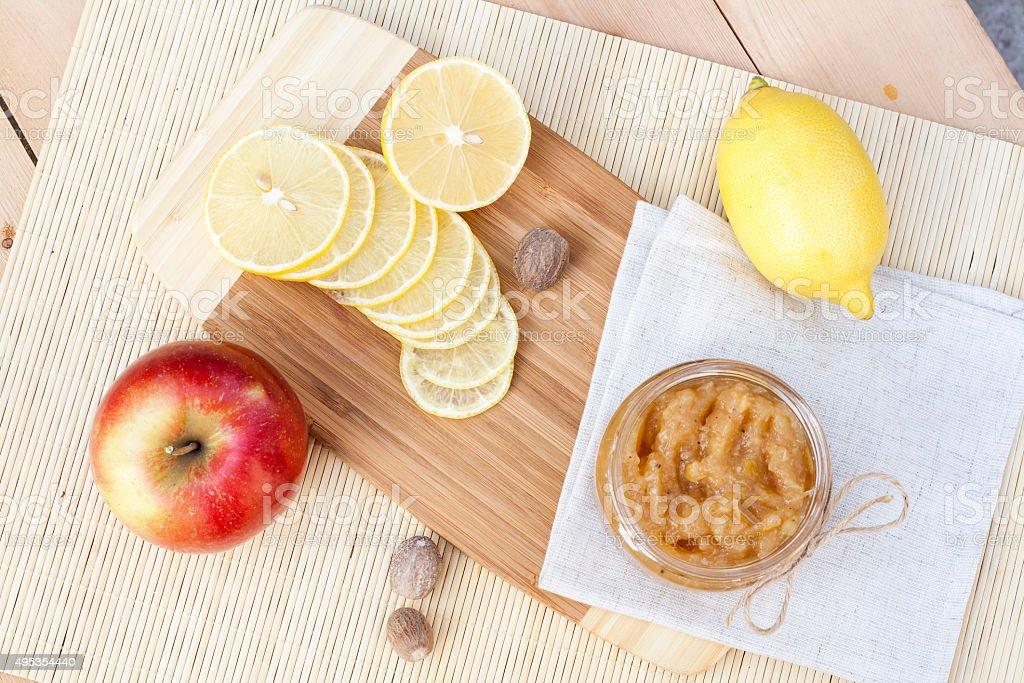 Homemade apple and lemon jam royalty-free stock photo