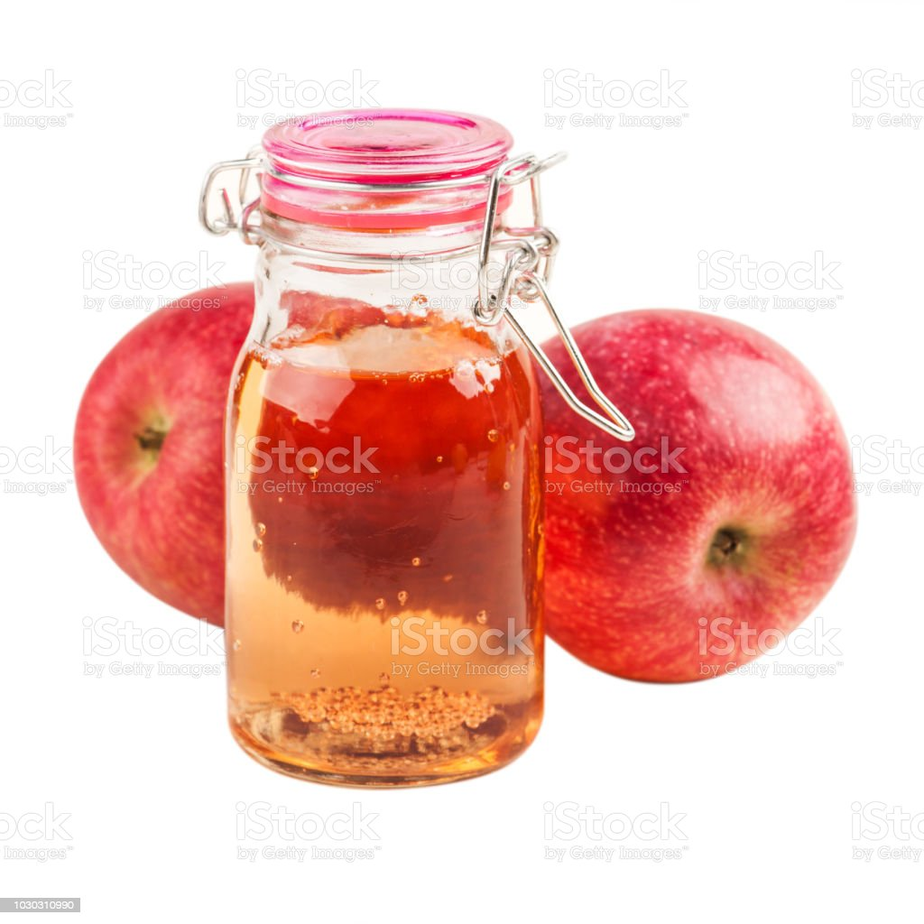 Homemade apple cider and fresh fruits stock photo