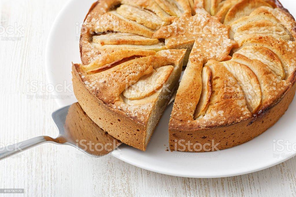 Homemade apple custard pie on white table – Foto