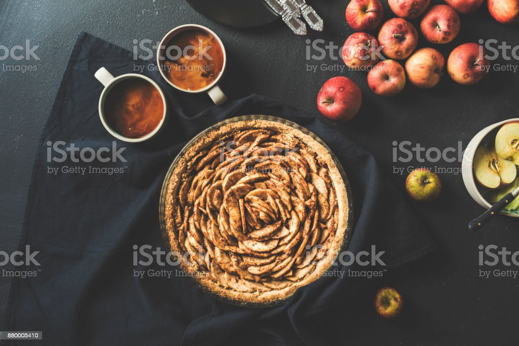 Homemade apple pie and coffee on the table stock photo