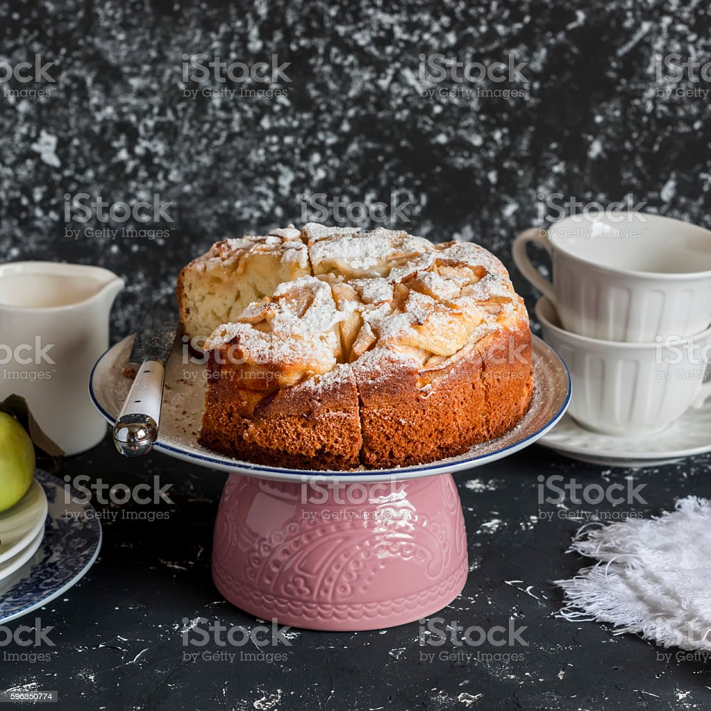 Homemade apple pie on a dark background royalty-free stock photo
