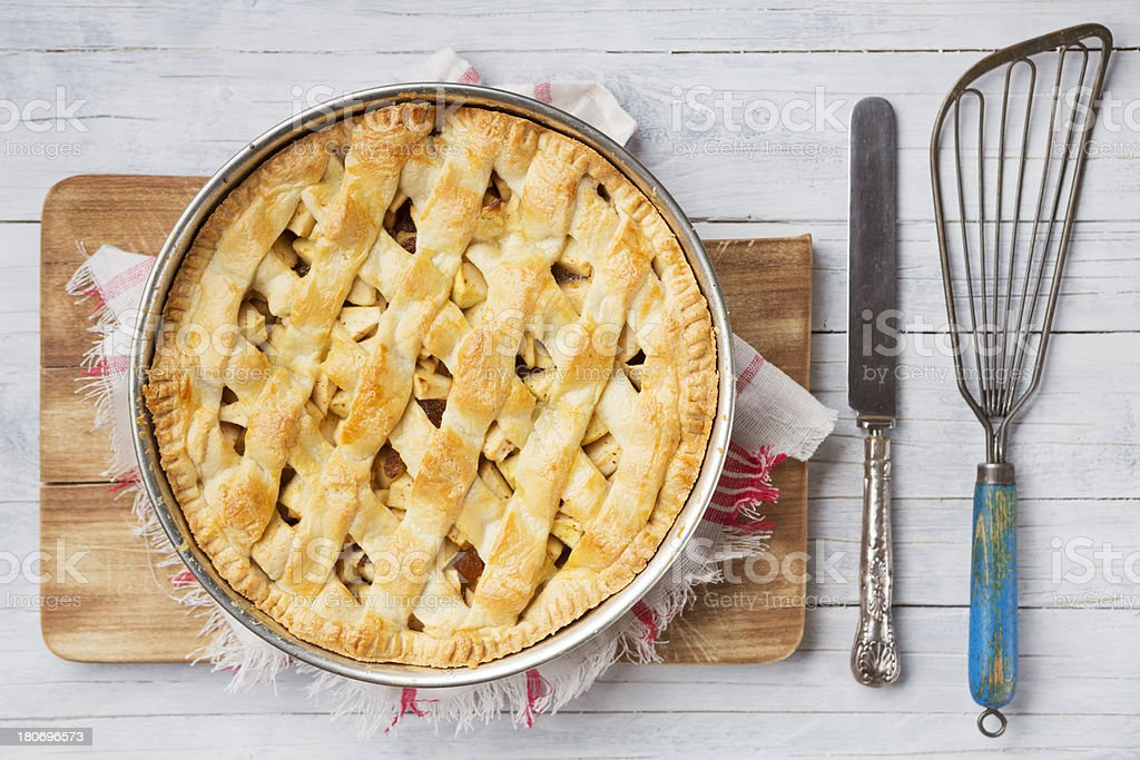 Homemade apple pie on a rustic table royalty-free stock photo