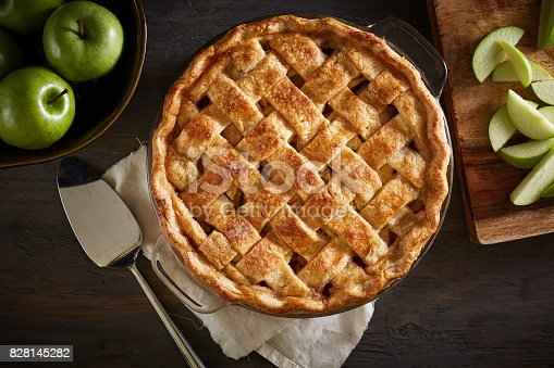 istock Homemade Apple Pie On A Wood Surface 828145282