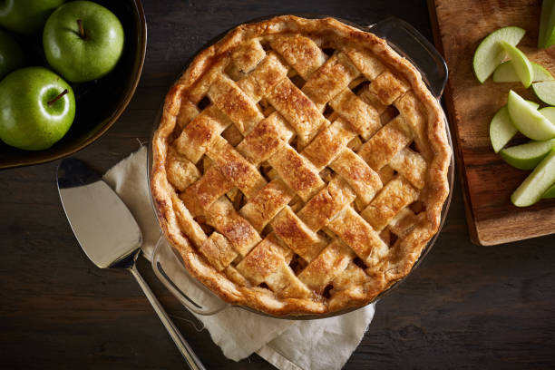 Homemade Apple Pie On A Wood Surface stock photo