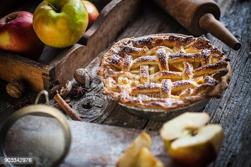 Homemade Apple Pie On A Wood Surface