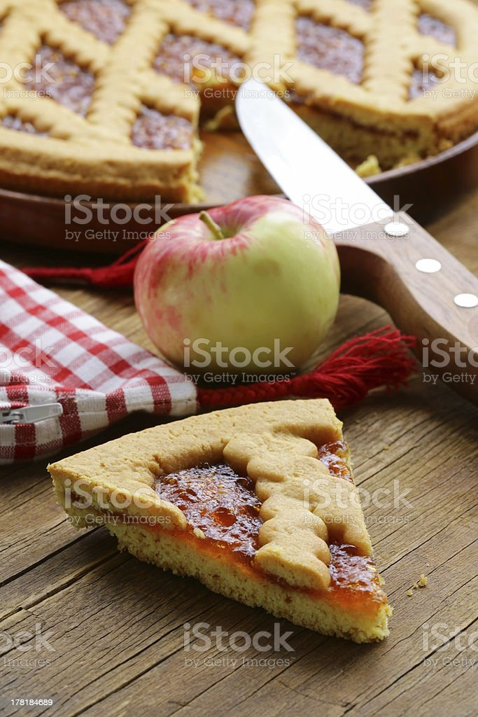 homemade apple pie on a wooden table royalty-free stock photo