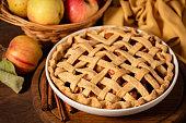 Woman preparing apple pie