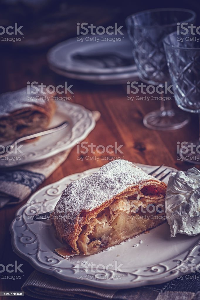 Homemade Apple Strudel Served on a Plate stock photo
