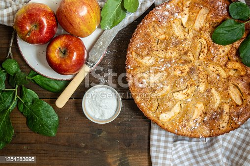 Homemade apple tart with almond flour