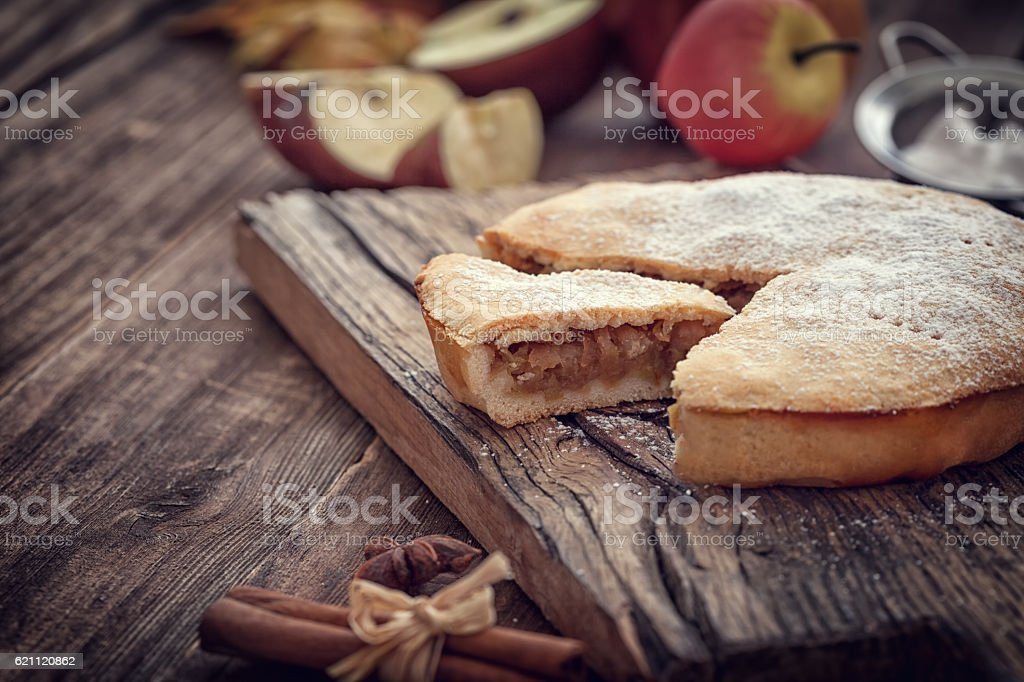 Homemade Apple tart with cinnamon and copy space stock photo