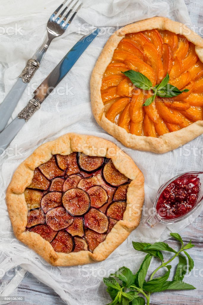 Homemade apricot and figs galette stock photo