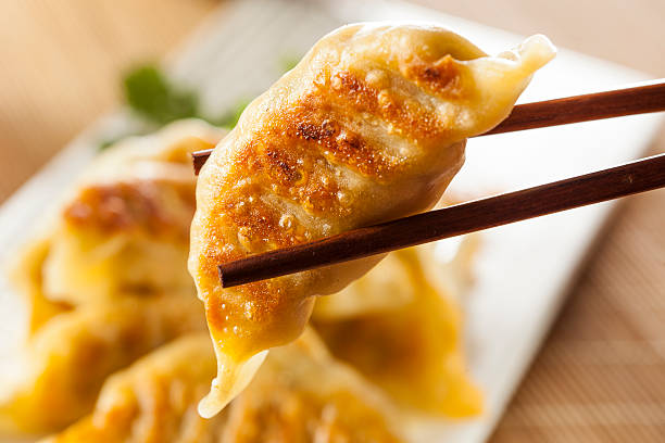 homemade asian vegeterian potstickers - dumplings stock photos and pictures
