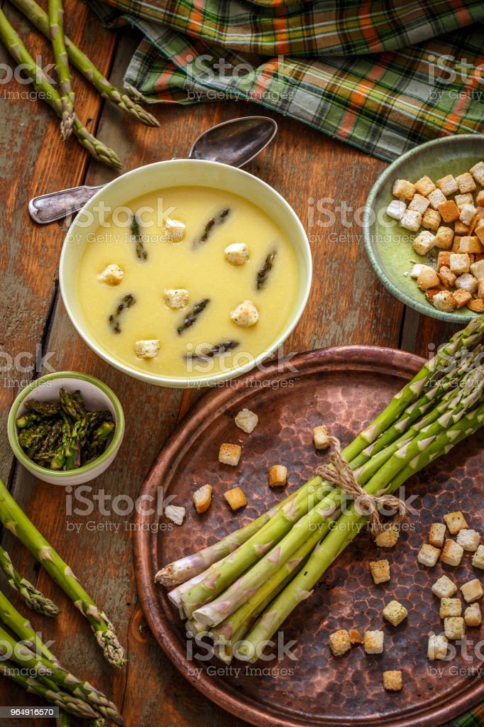 Homemade asparagus cream soup royalty-free stock photo