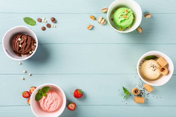 Homemade assorted ice cream in a bowl stock photo