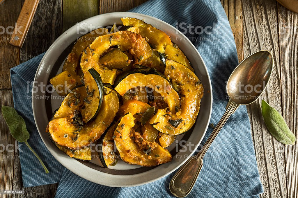Homemade Autumn Baked Acorn Squash stock photo